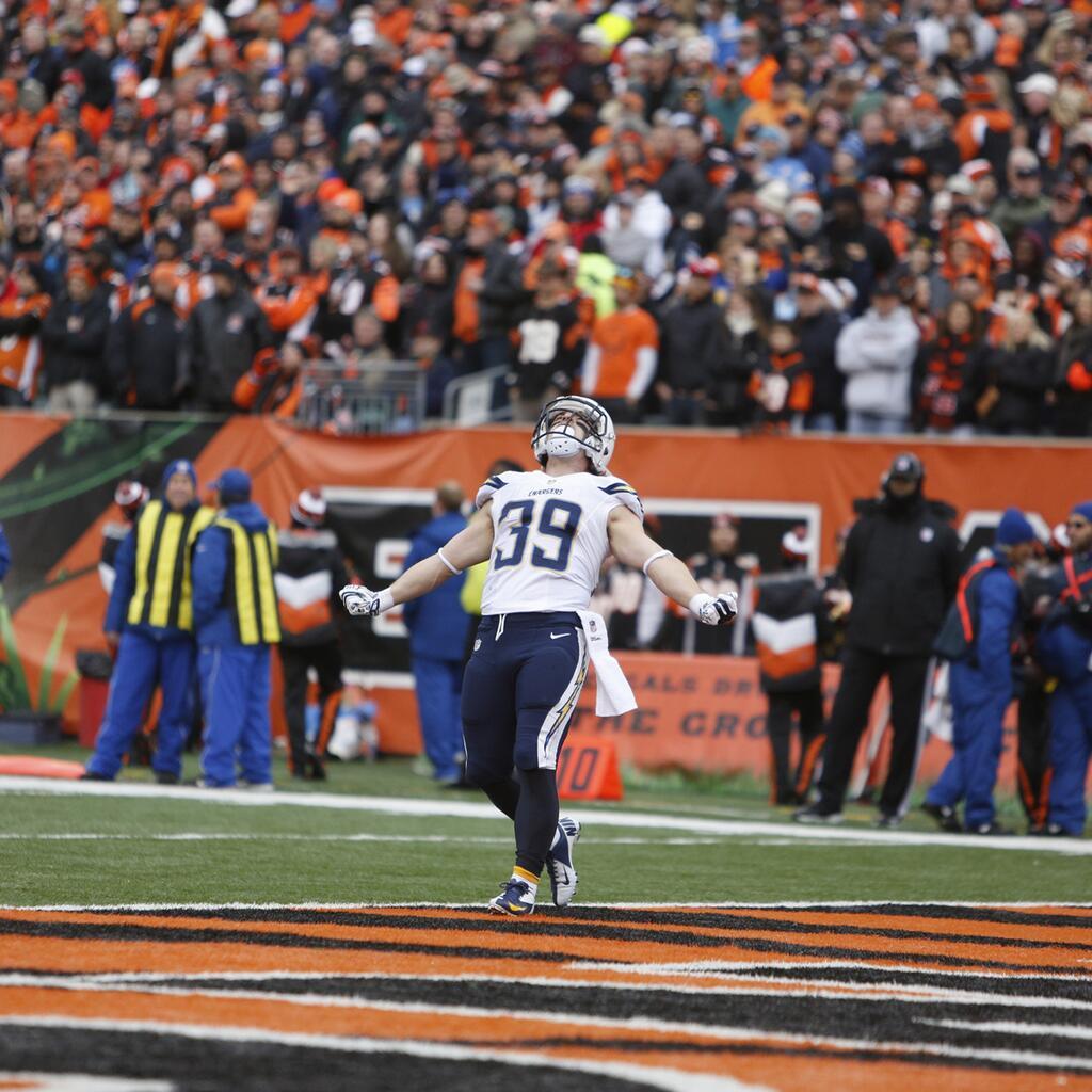 Danny Wodhead celebra su touchdown (AP)
