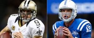 Drew Brees y Andres Lucks, QB de Saints y Colts, ambos con una marca de 0-2