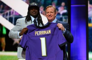 Apr 30, 2015; Chicago, IL, USA; Breshad Perriman (Central Florida) poses for a photo with NFL commissioner Roger Goodell after being selected as the number twenty-six overall pick to the Baltimore Ravens in the first round of the 2015 NFL Draft at the Auditorium Theatre of Roosevelt University. Mandatory Credit: Dennis Wierzbicki-USA TODAY Sports