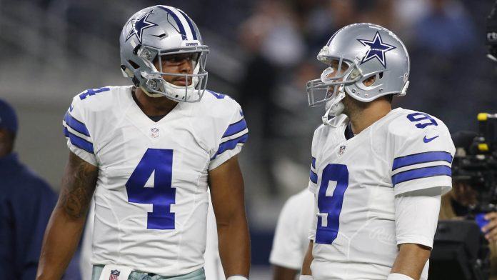 Dak Prescott y Tony Romo (Tim Heitman-USA TODAY Sports)